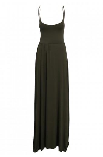 Amanda May Plunge Back Maxi Dress - Khaki