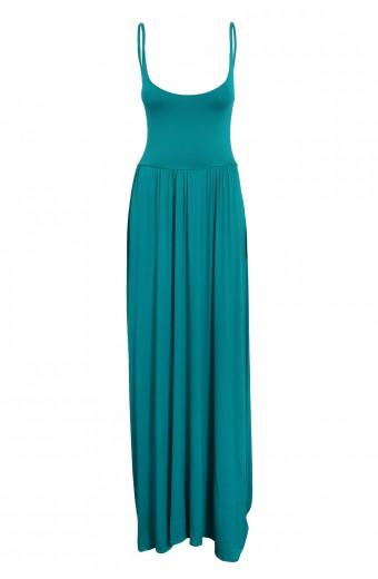 Amanda May Plunge Back Maxi Dress – Turquoise