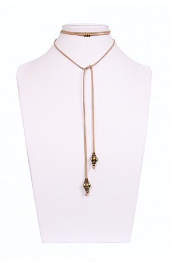 Lacey Luck Wrap Around Pendant Choker - Tan with Bronze Moroccan Detail