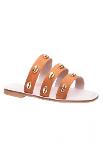 SAINT&SUMMER Lush Sandal - Tan & Gold Shells