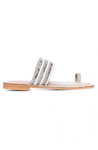 SAINT&SUMMER Lully Sandal - Silver & Snake