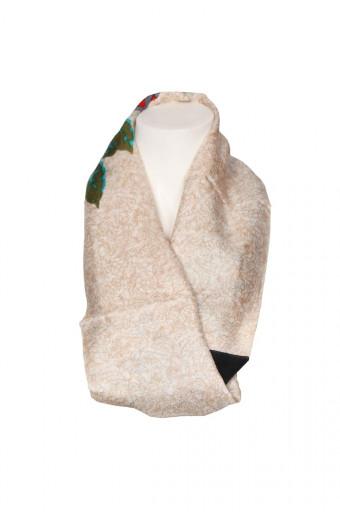 SassyChic Printed Silk Scarf - Beige