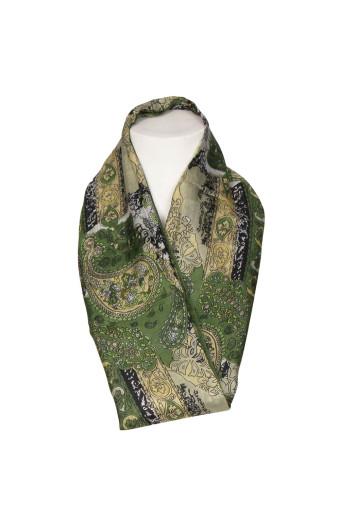 SassyChic Paisley Silk Scarf - Green