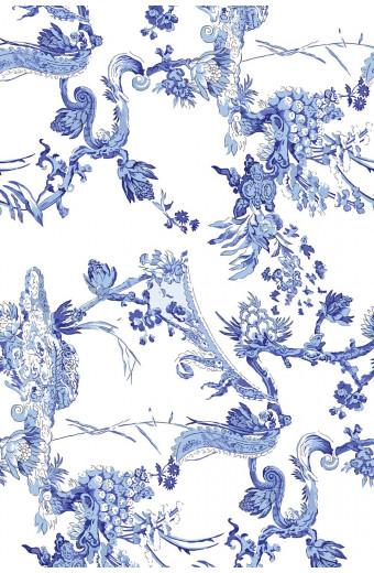 SassyChic Peel & Stick Wallpaper - Blue Abstract Chinoiserie Pattern