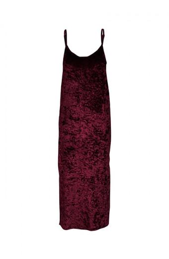 SassyChic Crushed Velvet Slip Dress - Plum