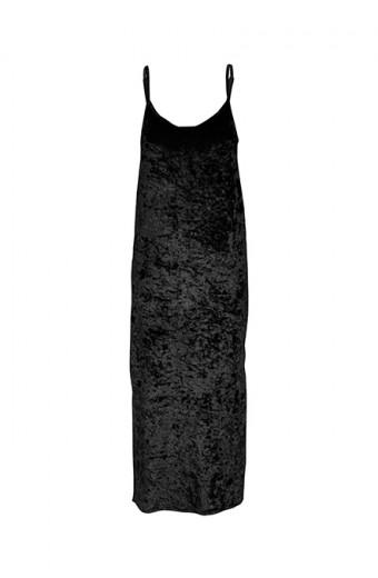SassyChic Crushed Velvet Slip Dress - Black