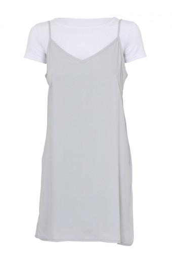 SassyChic Slip Dress with Tee - Grey