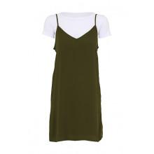 SassyChic Slip Dress with Tee - Khaki
