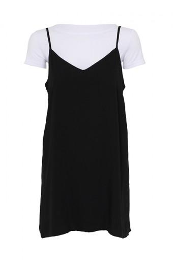 SassyChic Slip Dress with Tee - Black