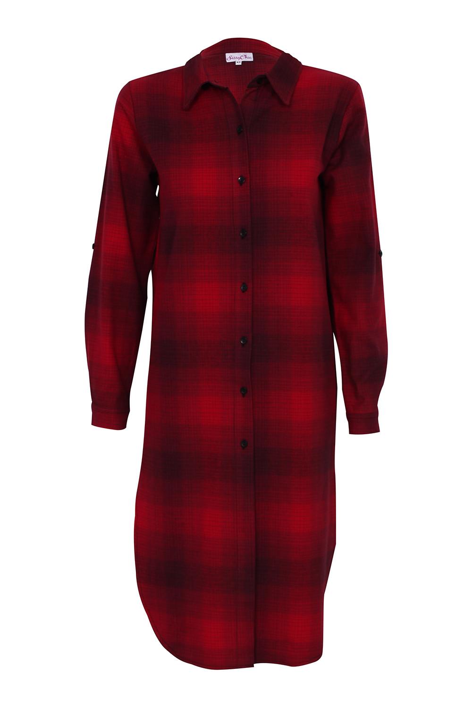 Sassychic plaid shirt dress red for Red plaid dress shirt