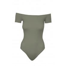 SassyChic Bardot Short Sleeve Bodysuit - Khaki