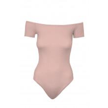 SassyChic Bardot Short Sleeve Bodysuit - Rose quartz