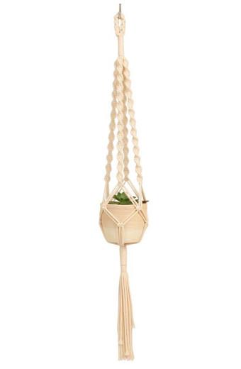 Artesense Twister Solid Macrame Plant Hanger - Natural