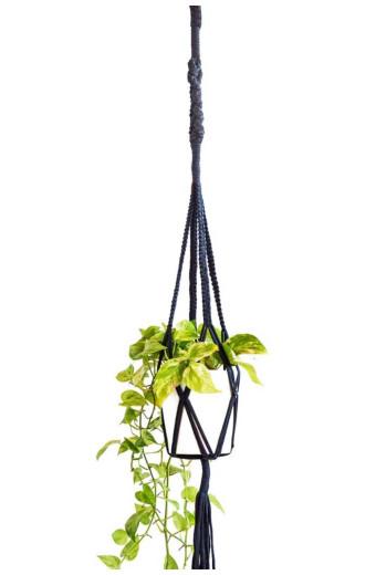 Artesense Twister Square Macrame Plant Hanger - Black