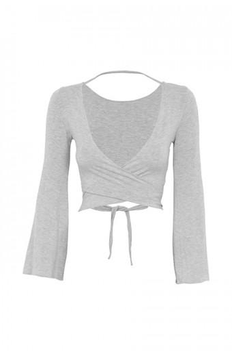 iAM Woman Bell Sleeve Wrap Top - Grey
