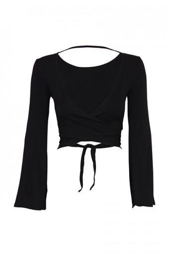 iAM Woman Bell Sleeve Wrap Top - Black