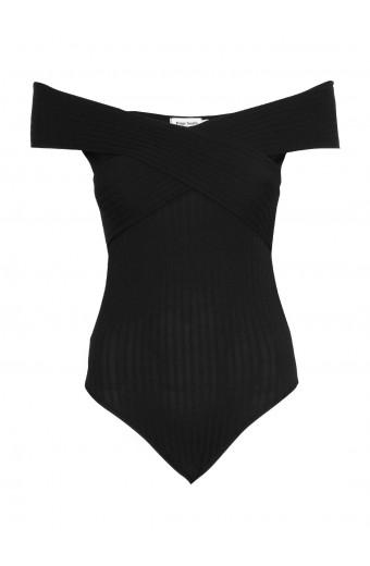Paige Smith Cross Bardot Bodysuit - Black