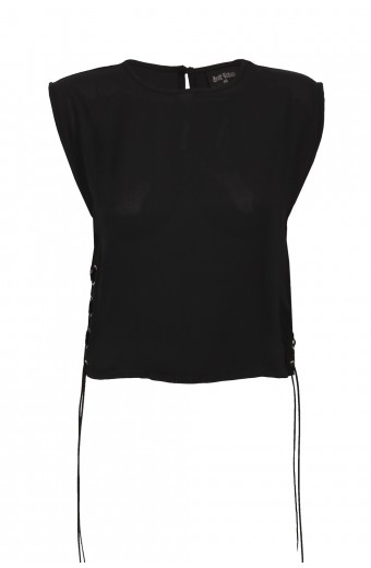 Brett Robson Sleeveless Eyelet Top - Black