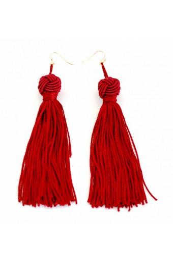 All Heart Knot & Tassel Earrings - Red