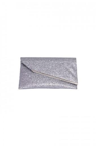 Blackcherry Metallic Envelope Clutch – Silver