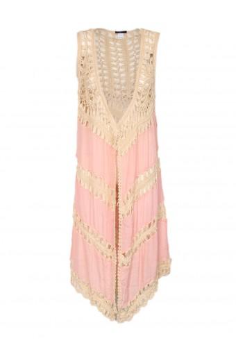 Blackcherry Crochet Kimono - Pink