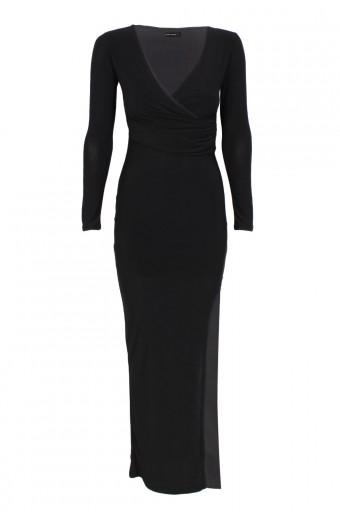 Zip-Code Wrap Bodice Maxi Dress - Black