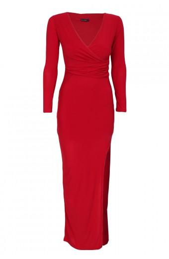 Zip-Code Wrap Bodice Maxi Dress - Red