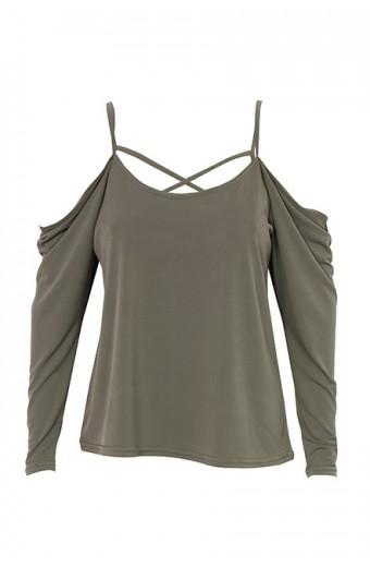 Zip-Code Cold Shoulder Drape Top – Olive