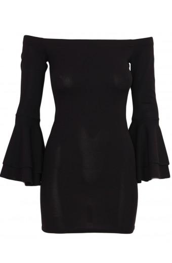 Zip-Code Bell Sleeve Dress - Black