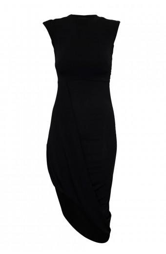 Zip-Code Asymmetrical Dress – Black