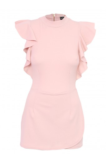 Zip-Code Frill Sleeve Playsuit - Pink