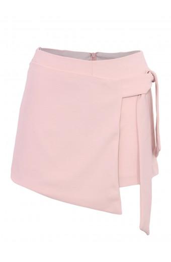 Zip-Code Tie Side Skort - Pink